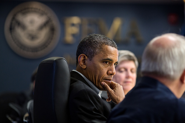 President Obama in a November briefing. White House photo by Pete Souza.