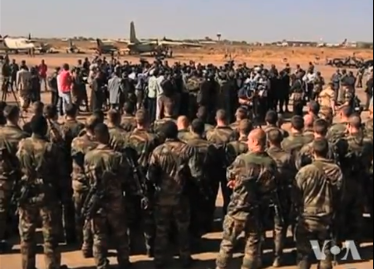 French troops deploy to Mali. Screencap from Voice of America, via YouTube.