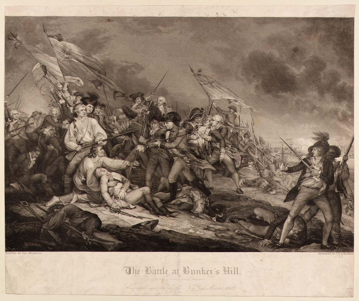 Joseph Napoleon Gimbrede, 'The Battle at Bunker's Hill.' Via the Smithsonian American Art Museum.