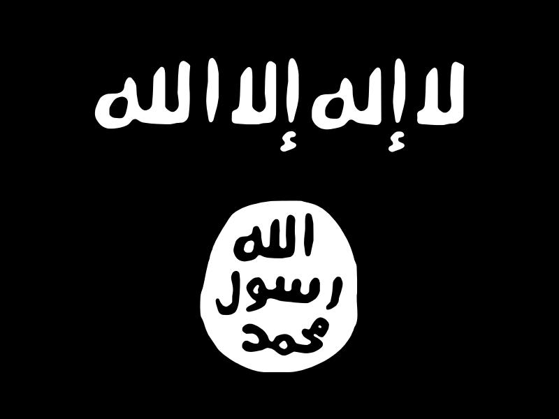 ISIS' flag. Via wikimedia.