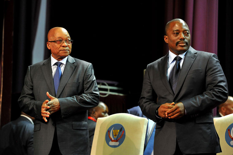 DRC President Joseph Kabila (right) with South African President Jacob Zuma at the People's Palace in Kinshasa, October 30, 2013. Photo via Government ZA.