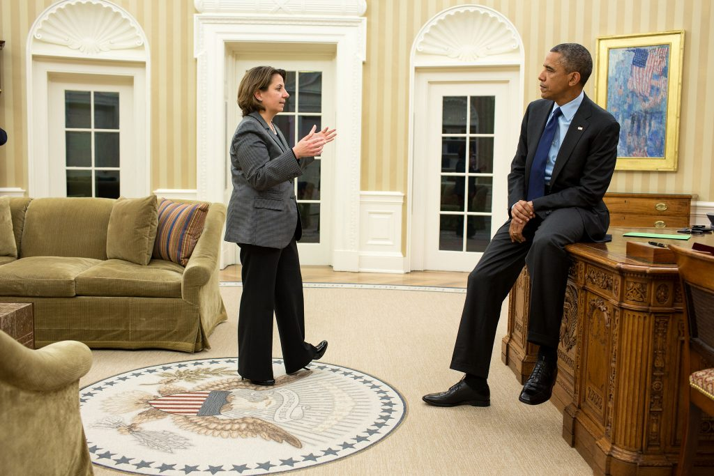 Lisa Monaco, Assistant to the President for Homeland Security and Counterterrorism, updates President Barack Obama on the Boston Marathon bombing investigation, April 19, 2013. Photo via The White House.