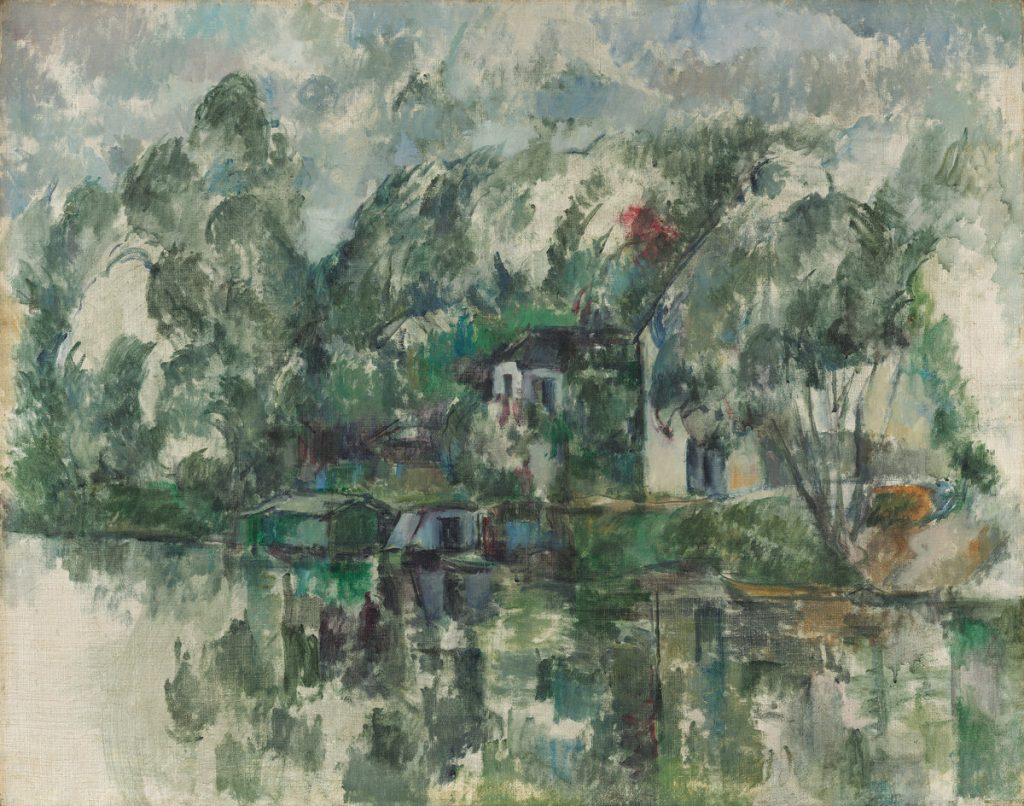 "Paul Cézanne, ""At the Water's Edge,"" c. 1890. Photo via National Gallery of Art."