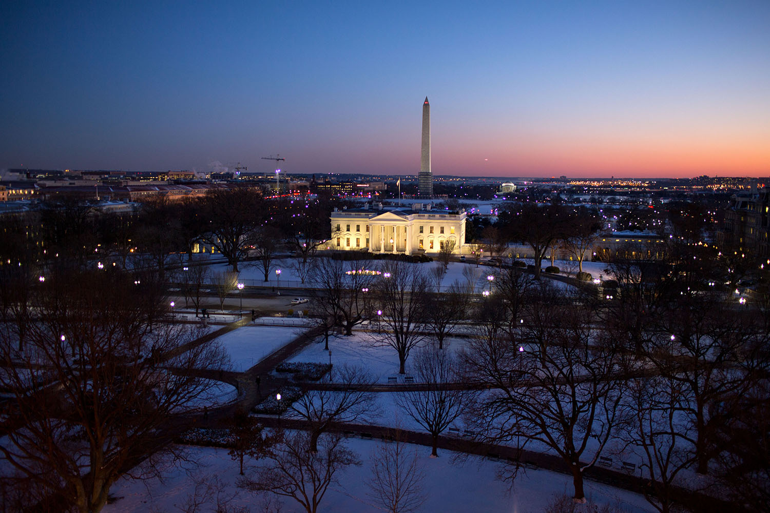The White House is illuminated at sunset, Jan. 22, 2014. (Official White House Photo by Chuck Kennedy) This official White House photograph is being made available only for publication by news organizations and/or for personal use printing by the subject(s) of the photograph. The photograph may not be manipulated in any way and may not be used in commercial or political materials, advertisements, emails, products, promotions that in any way suggests approval or endorsement of the President, the First Family, or the White House.