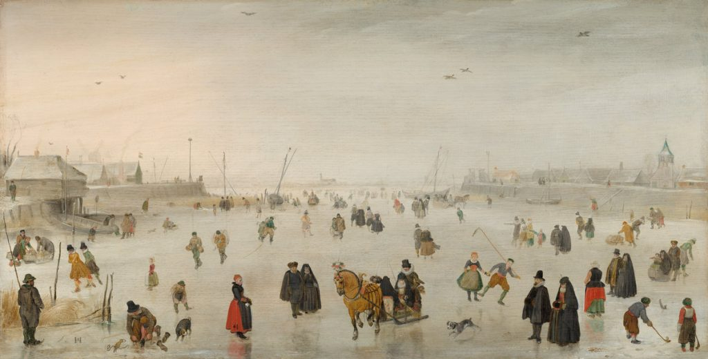 Hendrick Avercamp (Dutch, 1585 - 1634 ), A Scene on the Ice, c. 1625, oil on panel, Ailsa Mellon Bruce Fund 1967.3.1