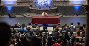 Evo Morales at a press conference in Mexico City