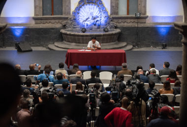 Evo Morales at a press conference in Mexico City