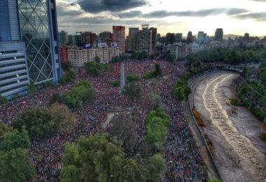 Protests in Plaza Baquedano, downtown Santiago