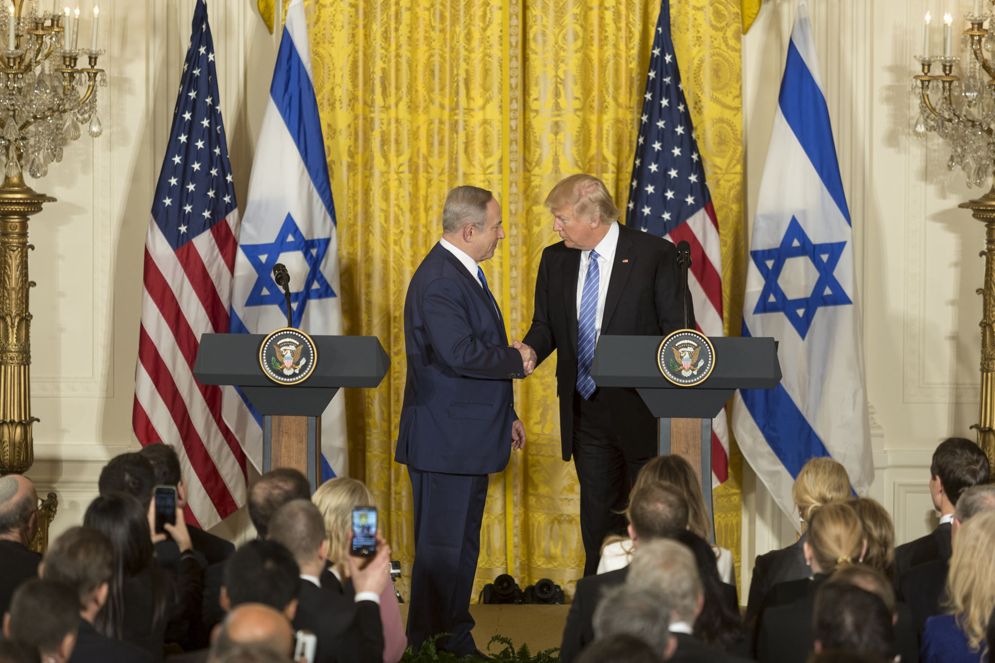 Trump shaking hands with Israeli Prime Minister Benjamin Netanyahu. Photo courtesy of The White House.