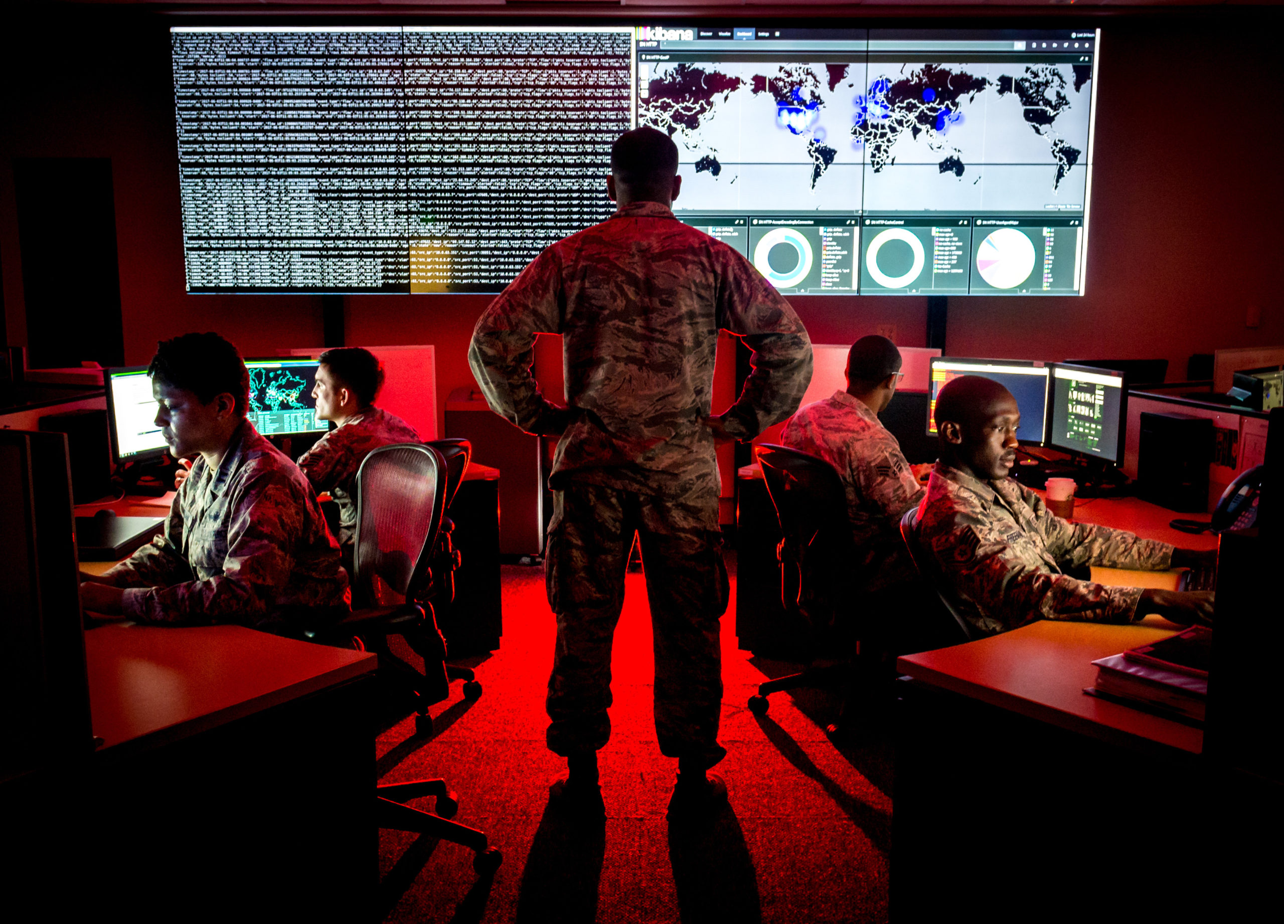 Cyber-warfare specialists serving with the 175th Cyberspace Operations Group of the Maryland Air National Guard engage in weekend training at Warfield Air National Guard Base, Middle River, Md., Jun. 3, 2017. U.S. Air Force photo by J.M. Eddins Jr.