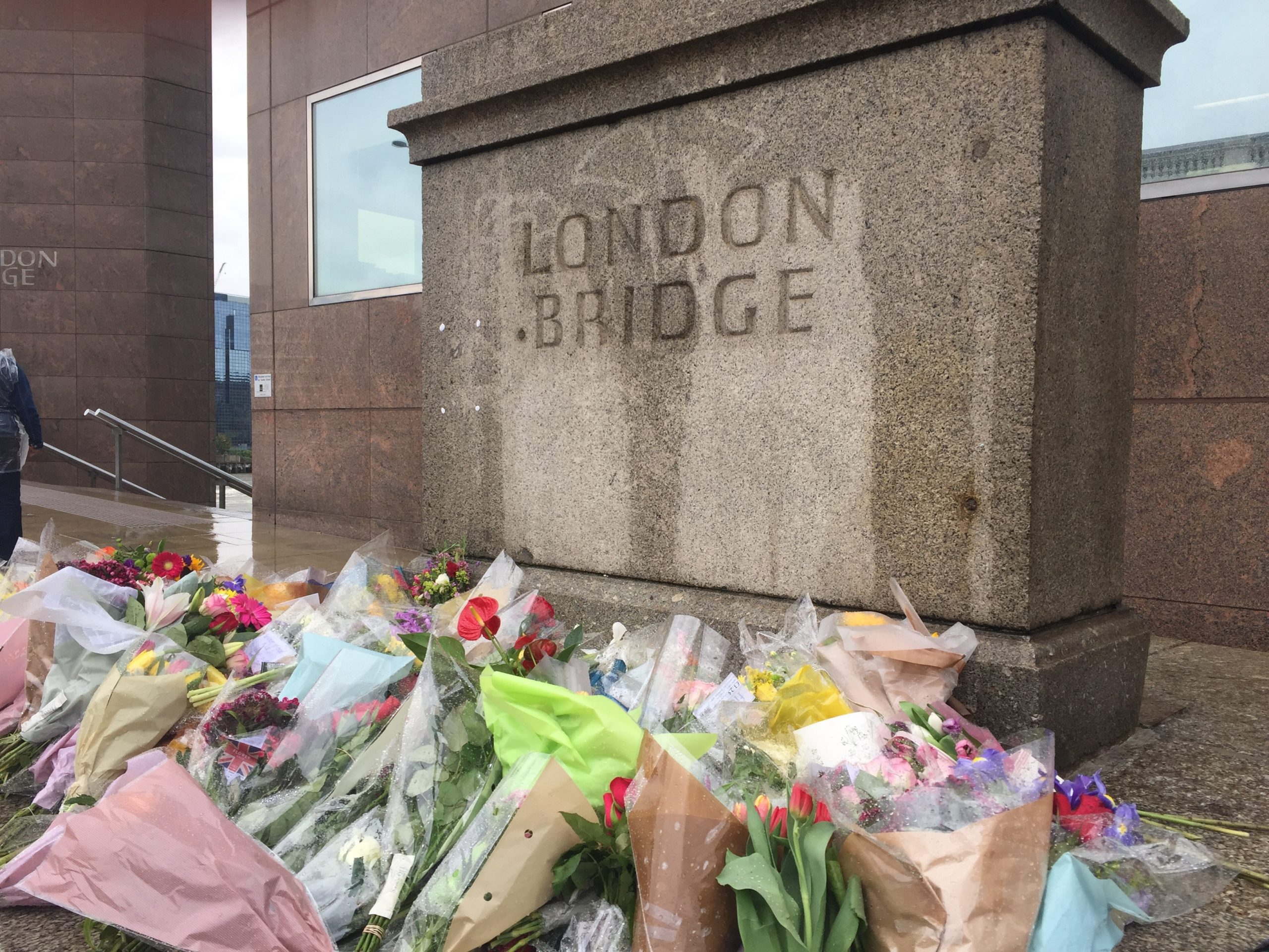 Flowers left on the London Bridge in tribute to the victims of the June 2017 terrorist attack. Photo courtesy of Matt Brown.