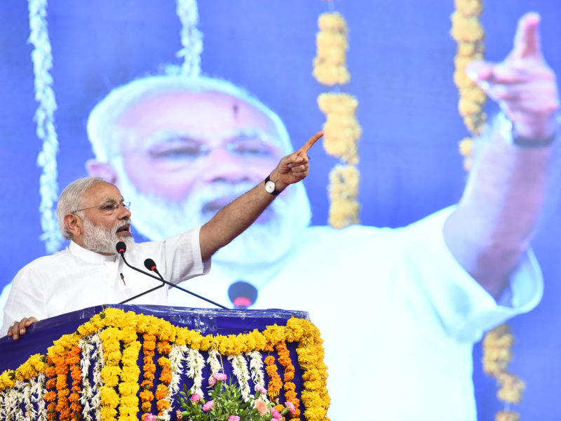 The Prime Minister, Shri Narendra Modi addressing at the public meeting, at Botad, in Gujarat. Photo courtesy of PIB India.
