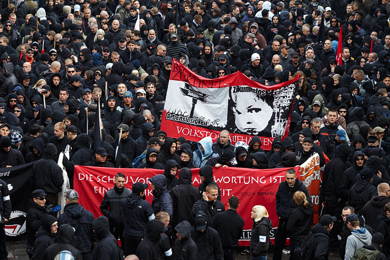 Neo-Nazi demonstration in Leipzig, Germany. Photo courtesy of Herder3.